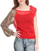 Long-Sleeve - Animal Sleeve sexy Ruched Top