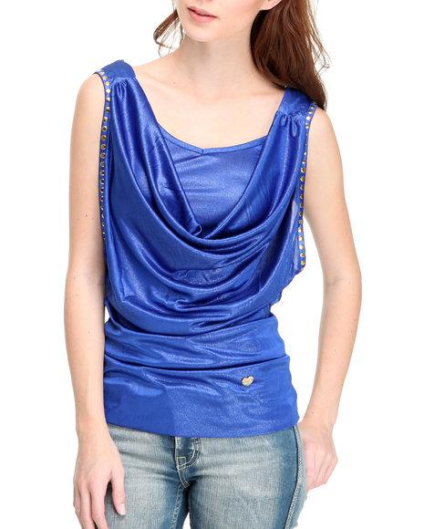Apple Bottoms Women Blue Fashion Studded Layered Top