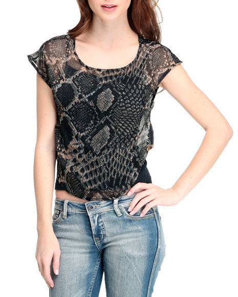Rocawear Animal Print Snake Print Mesh Sublimation Top
