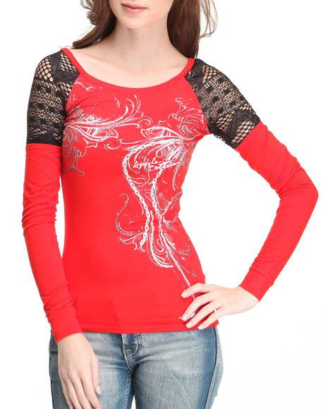Apple Bottoms Women Red Crochet Insert Fashion Top