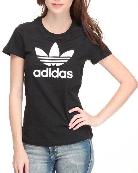 Adidas Women Black Trefoil Tee