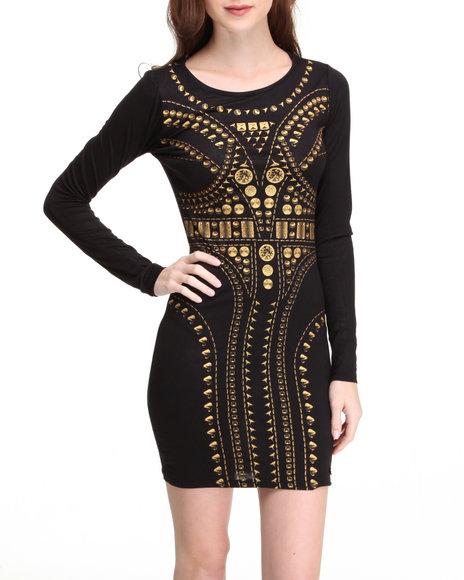 Apple Bottoms Women Black Long Sleeve Sexy Vogue Dress