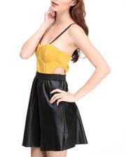 Women - Bustier Vegan Leather Dress