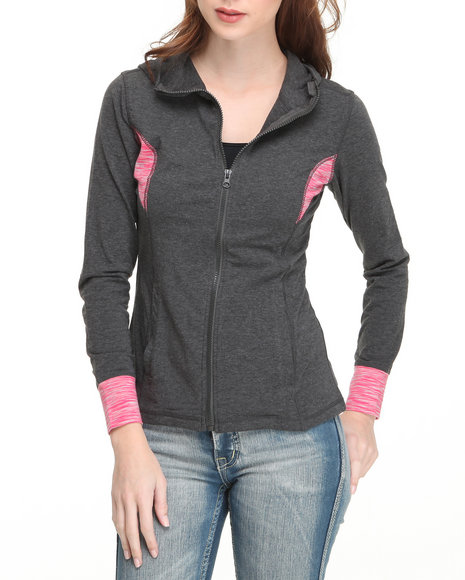 Basic Essentials Women Pink Space Dyed Hoodie
