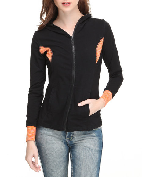 Basic Essentials Women Orange Space Dyed Hoodie