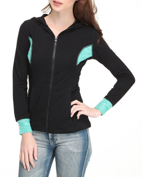 Basic Essentials Women Teal Space Dyed Hoodie