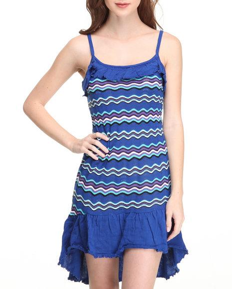 Apple Bottoms Women Blue Hi-Low Hem Striped Knit Dress