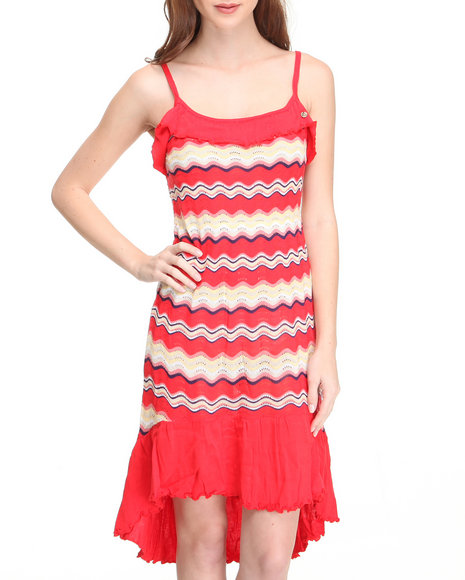 hi-low hem striped knit dress