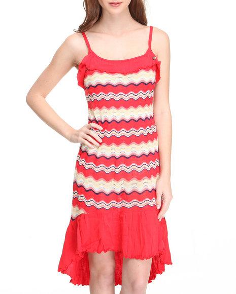 Apple Bottoms Women Red Hi-Low Hem Striped Knit Dress