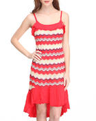 Women - Hi-Low Hem Striped Knit Dress