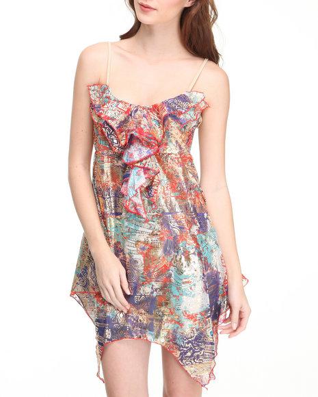 Apple Bottoms Women Multi Asymmetrical Hem Printed Babydoll Dress