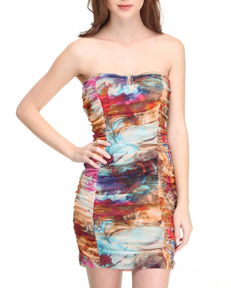 Apple Bottoms Women Multi Printed Ruched Sexy Mini Dress