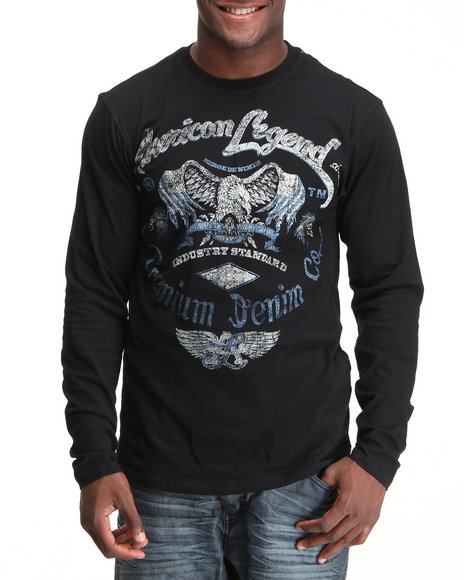 Pelle Pelle Men Black L/S Eagle Tee