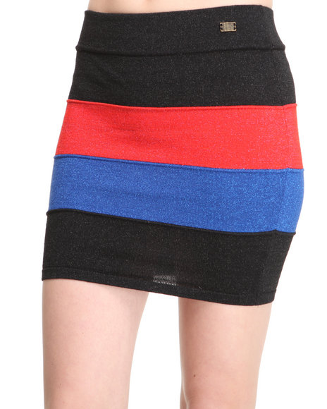 Apple Bottoms Women Black Colorblocked Sexy Knit Mini Skirt
