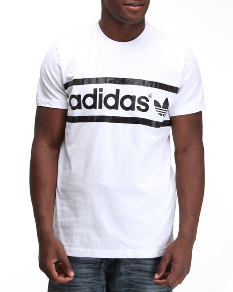Adidas Men White Heritage Logo Tee