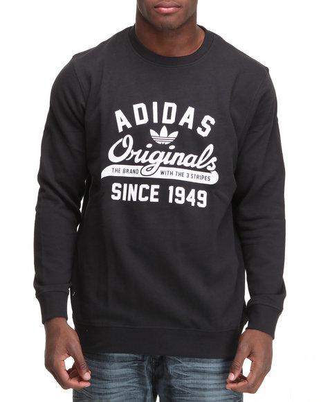 Adidas Men Black Graphic Crewneck Sweatshirt