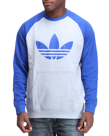 Adidas Men Blue,Silver Sport Lite Crewneck French Terry Sweatshirt
