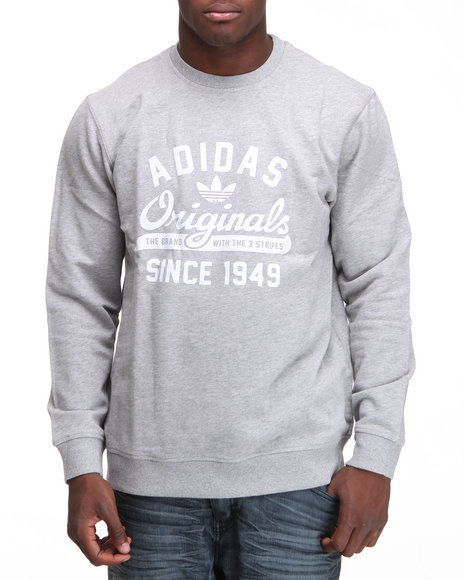 Adidas Men Grey Graphic Crewneck Sweatshirt