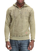 Henleys - T - Block Textured Hooded Henley