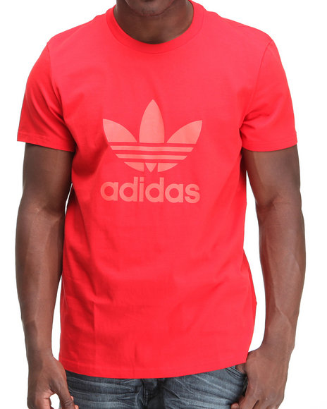 Adidas Men Red Trefoil Tee