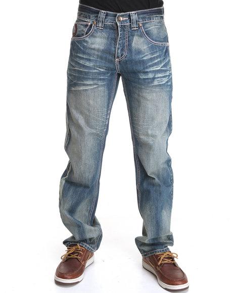 Pelle Pelle Men Vintage Wash Indigo Sand Wash Distressed Denim Jeans