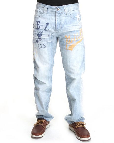 Pelle Pelle Men Light Wash New Enzyme Sports Print Denim Jeans
