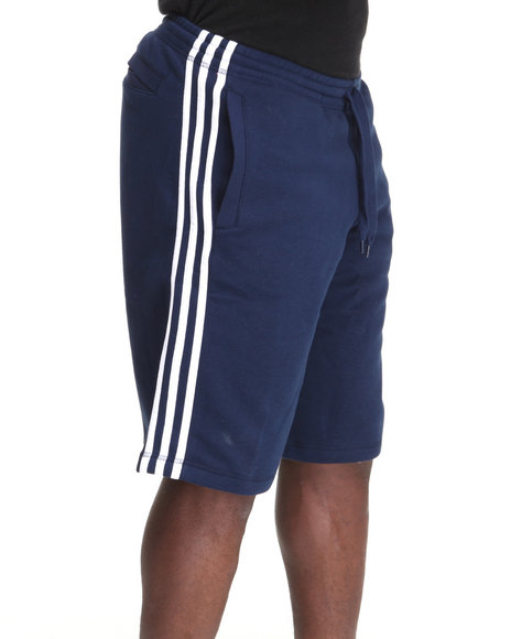 Adidas Men Navy 3 Striped Fleece Sweat Shorts
