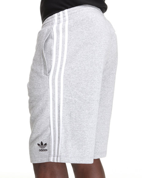 Adidas Men Grey 3 Striped Fleece Sweat Shorts
