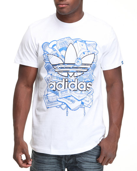 Adidas Men White Music Trefoil Tee