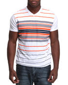 Men - V-neck stripe engineered tee