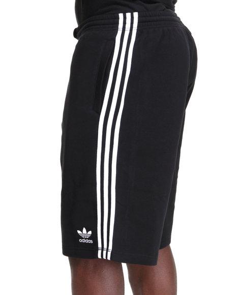 Adidas Men Black 3 Striped Fleece Sweat Shorts