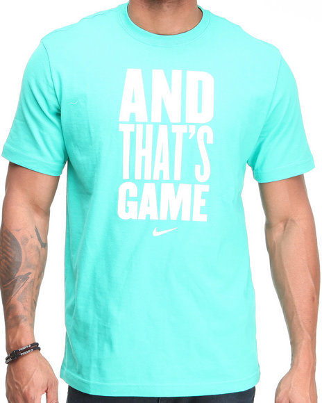 Nike Men Teal And Thats Game Tee