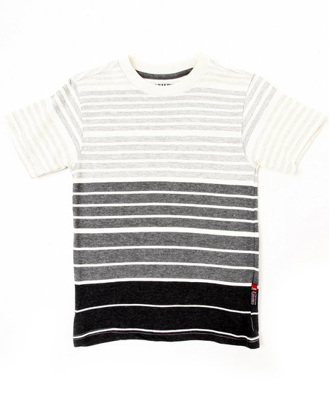 Arcade Styles Boys Black,White Y/D Stripe Crew Neck Tee (4-7)