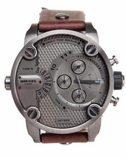 Accessories - Little Daddy Gun Metal 51mm Face w / Brown Leather Strap Watch