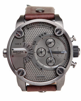 Diesel - Little Daddy Gun Metal 51mm Face w / Brown Leather Strap Watch