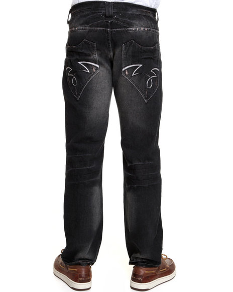 5ive Jungle - Men Black, Brown Overcast Circle Jeans