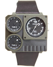 Diesel - Kickstart Camo Square Face w/ Brown Leather Strap Watch