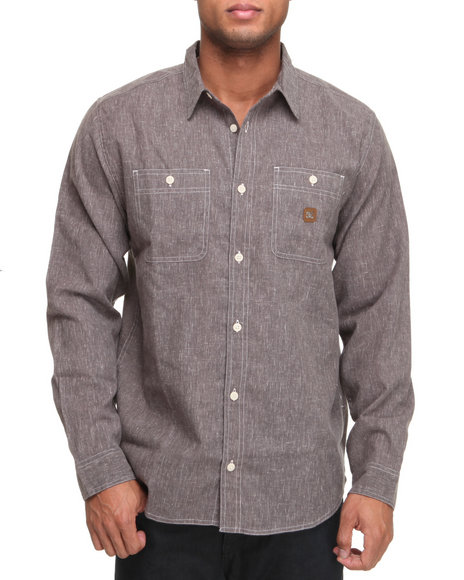 Dc Shoes Men Charcoal Pistol Whip L/S Button-Down