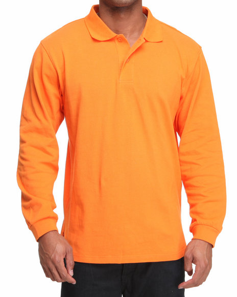 Basic Essentials Men Orange Long Sleeve Pique Polo