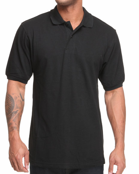 Basic Essentials - Men Black Pique Solid Polo