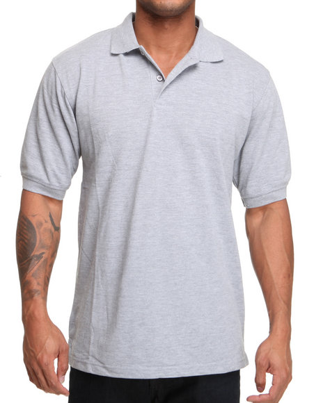 Basic Essentials - Men Grey Pique Solid Polo