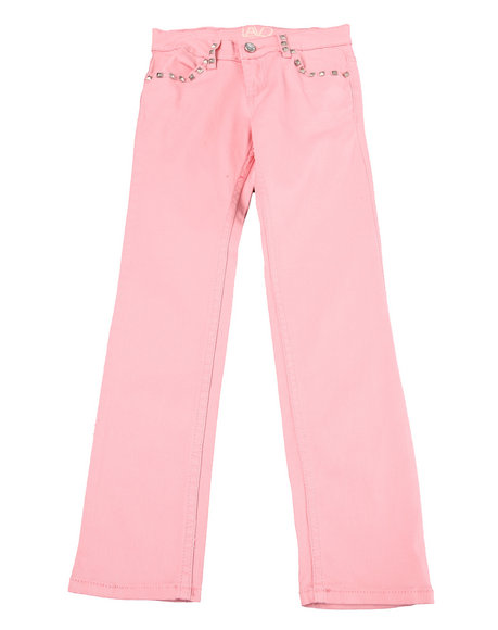 La Galleria - Girls Pink Colored Twill Jeans (7-16)