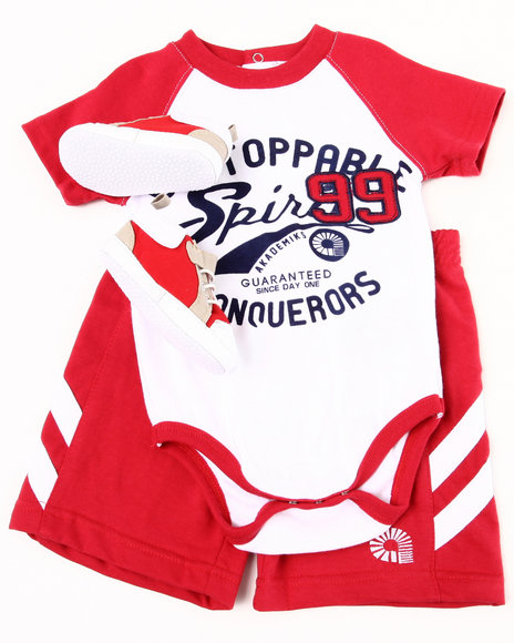 Akademiks Boys Red 3 Pc Sneaker Short Set (Infant)