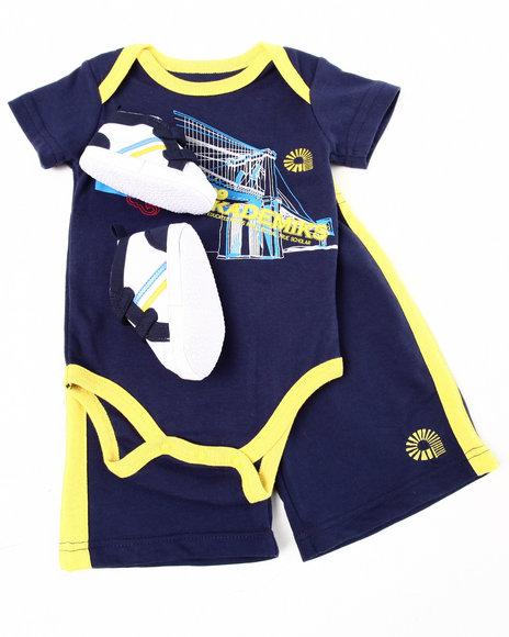 Akademiks Boys Navy 3 Pc Sneaker Short Set (Infant)