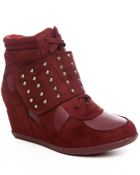 Fashion Lab Women Maroon Sneaker Wedge W/Stud Detail