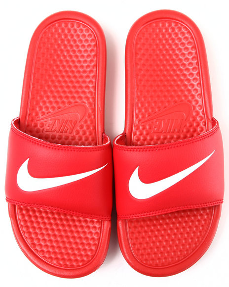 Nike Men Red Benassi Swoosh Sandals