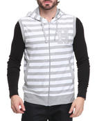 Outerwear - Sleeveless Striped Hoodie