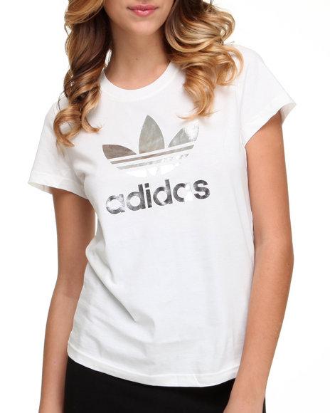 Adidas Women White Trefoil Tee