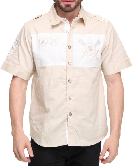 Basic Essentials Men Khaki Nautical Short Sleeve Woven Shirt