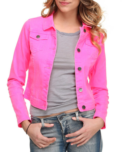 Basic Essentials Women Pink Basic Denim Jacket W/Collar Detail